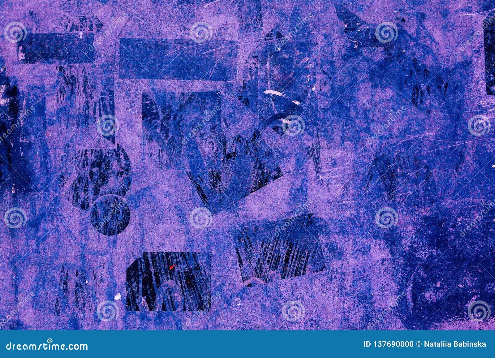 Da violeta obscura escura preta azul velha do grunge do vintage do teste padrão do fundo da pintura de Wall Street das etiquetas
