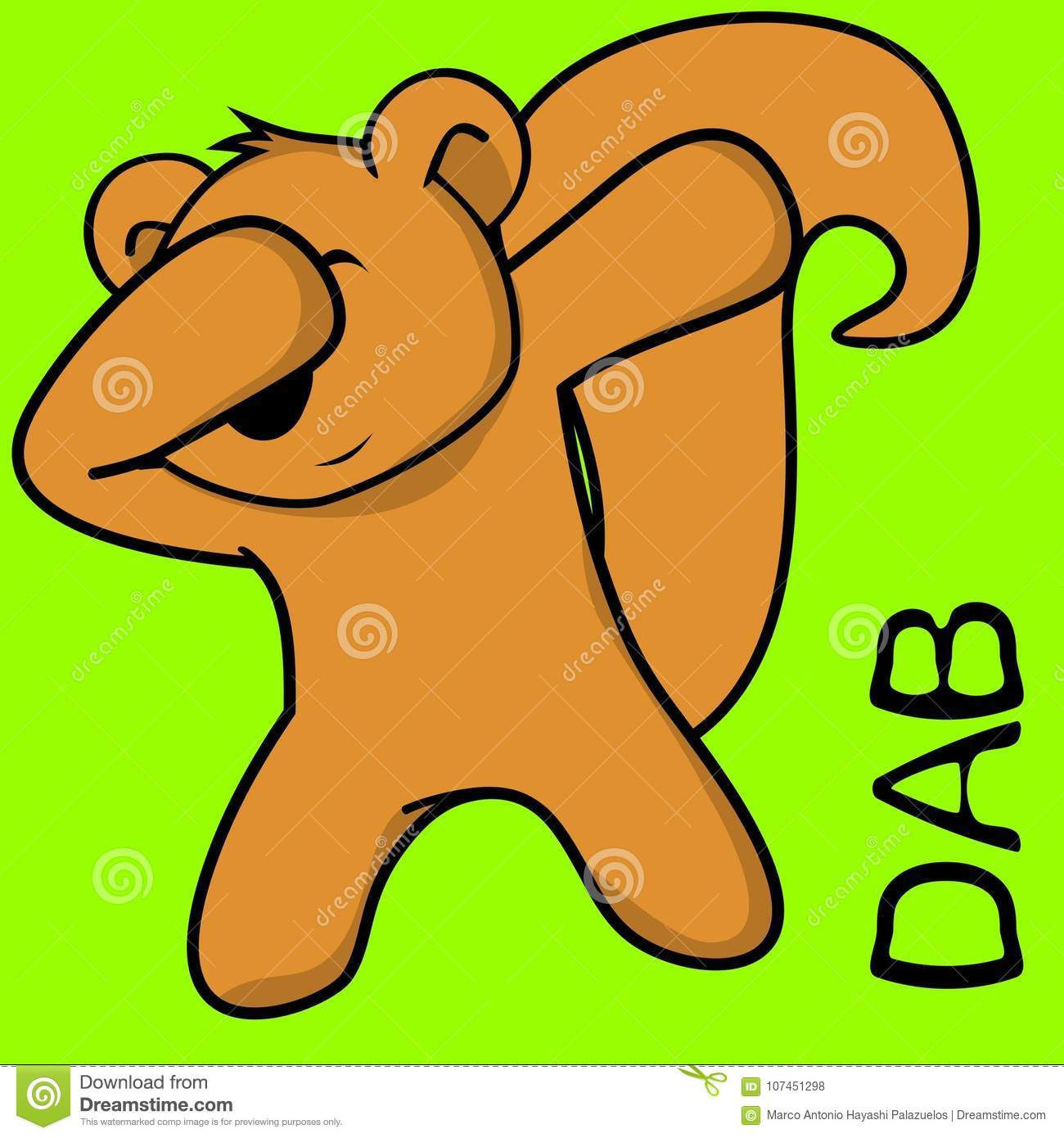 dab dabbing pose squirrel kid cartoon stock vector illustration of
