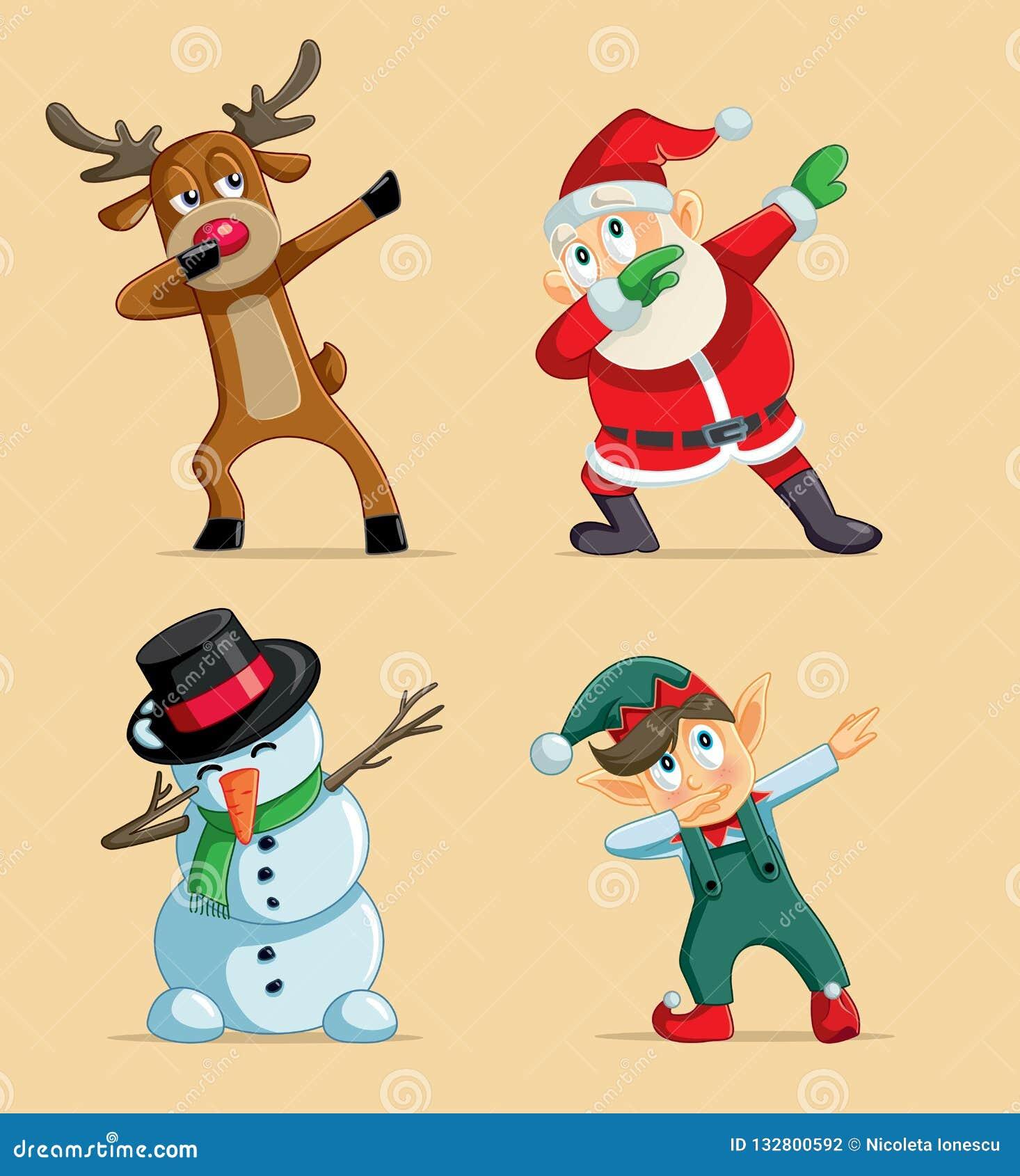 Dabbing Christmas Characters Vector Set Stock Vector