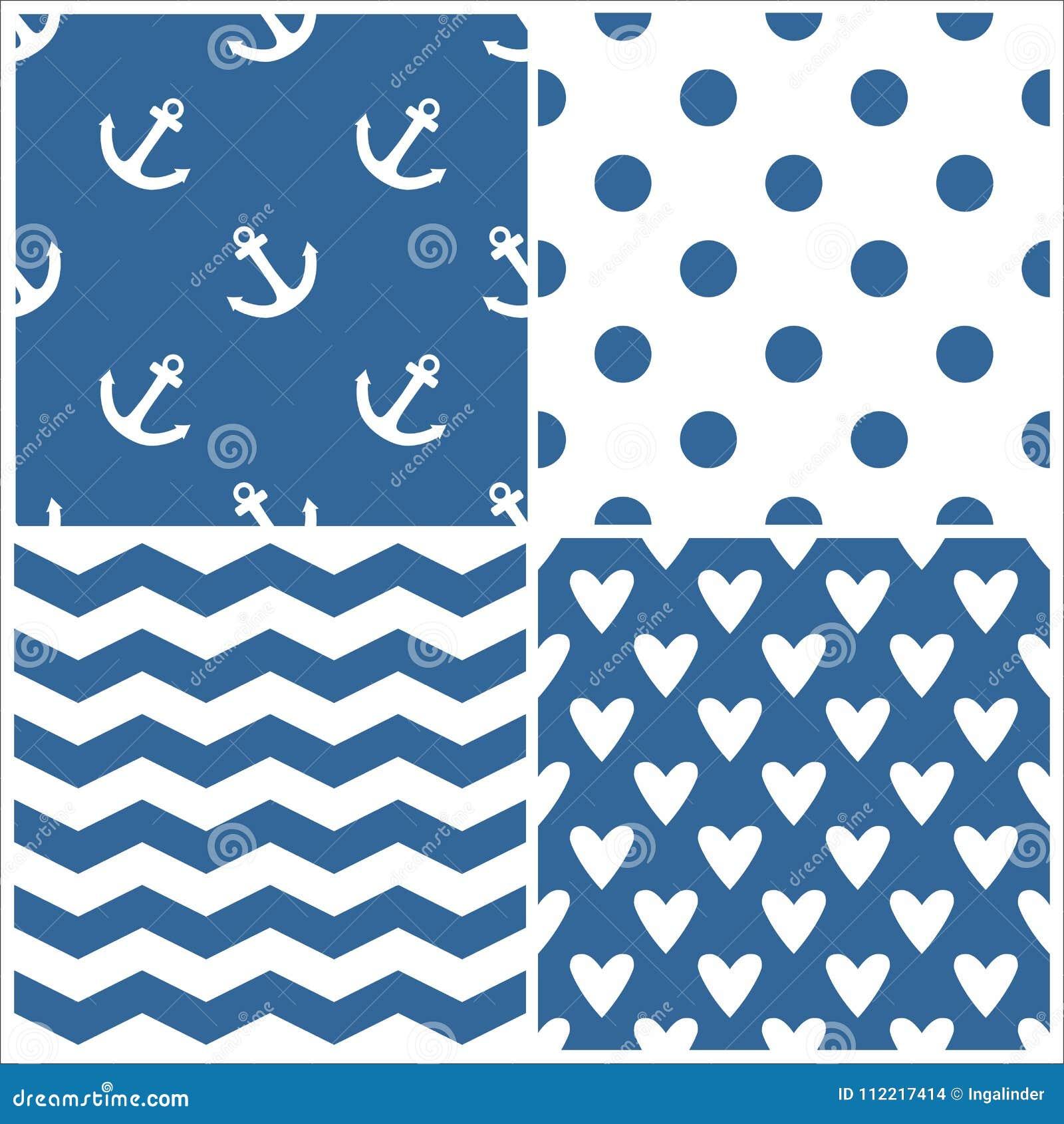 Dachówkowy żeglarza wektoru wzór ustawiający z polek kropkami, zygzag lampasami i sercami na błękitnym tle,