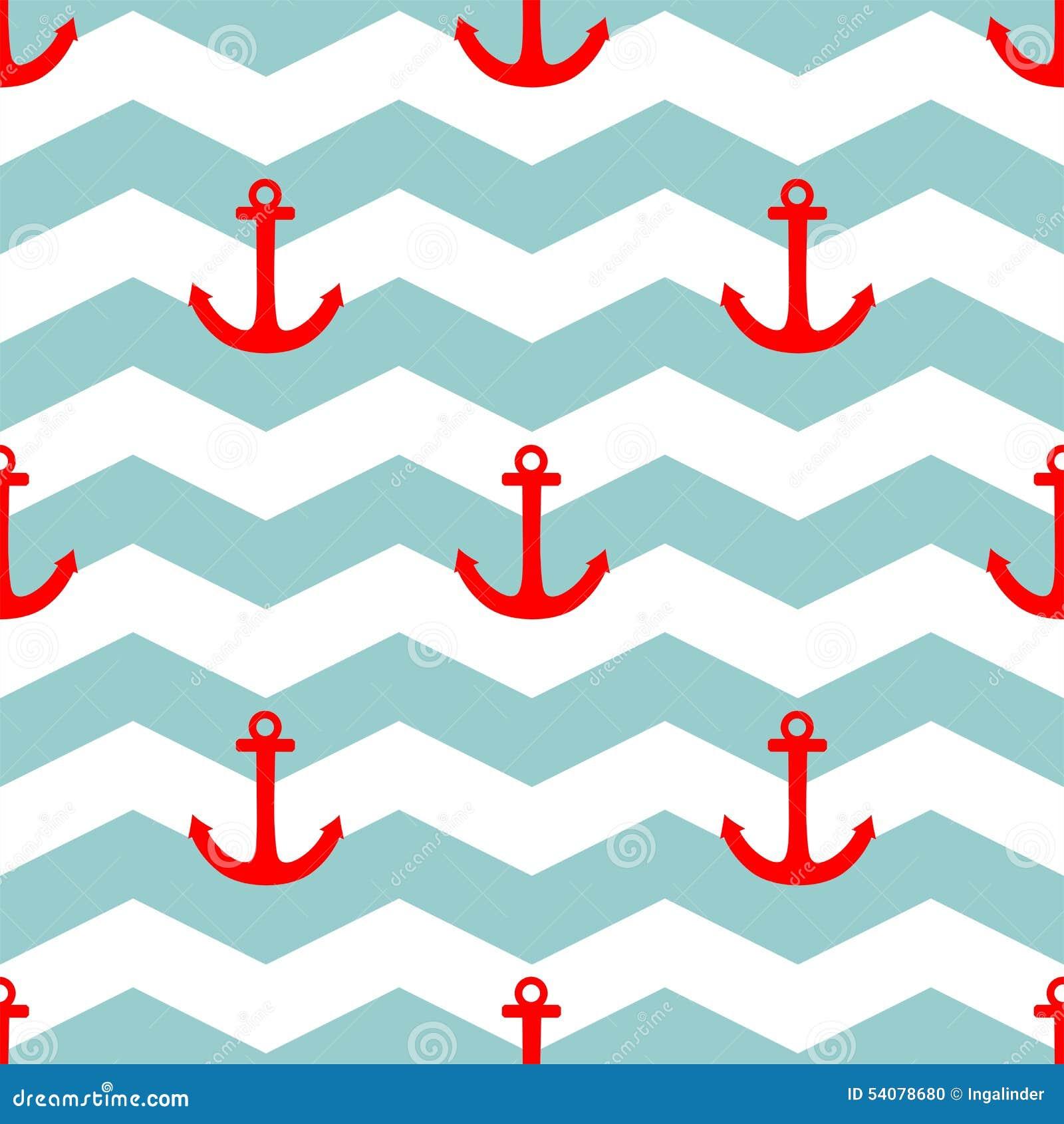 Dachówkowy żeglarza wektoru wzór z czerwieni kotwicą na białych i błękitnych lampasów tle