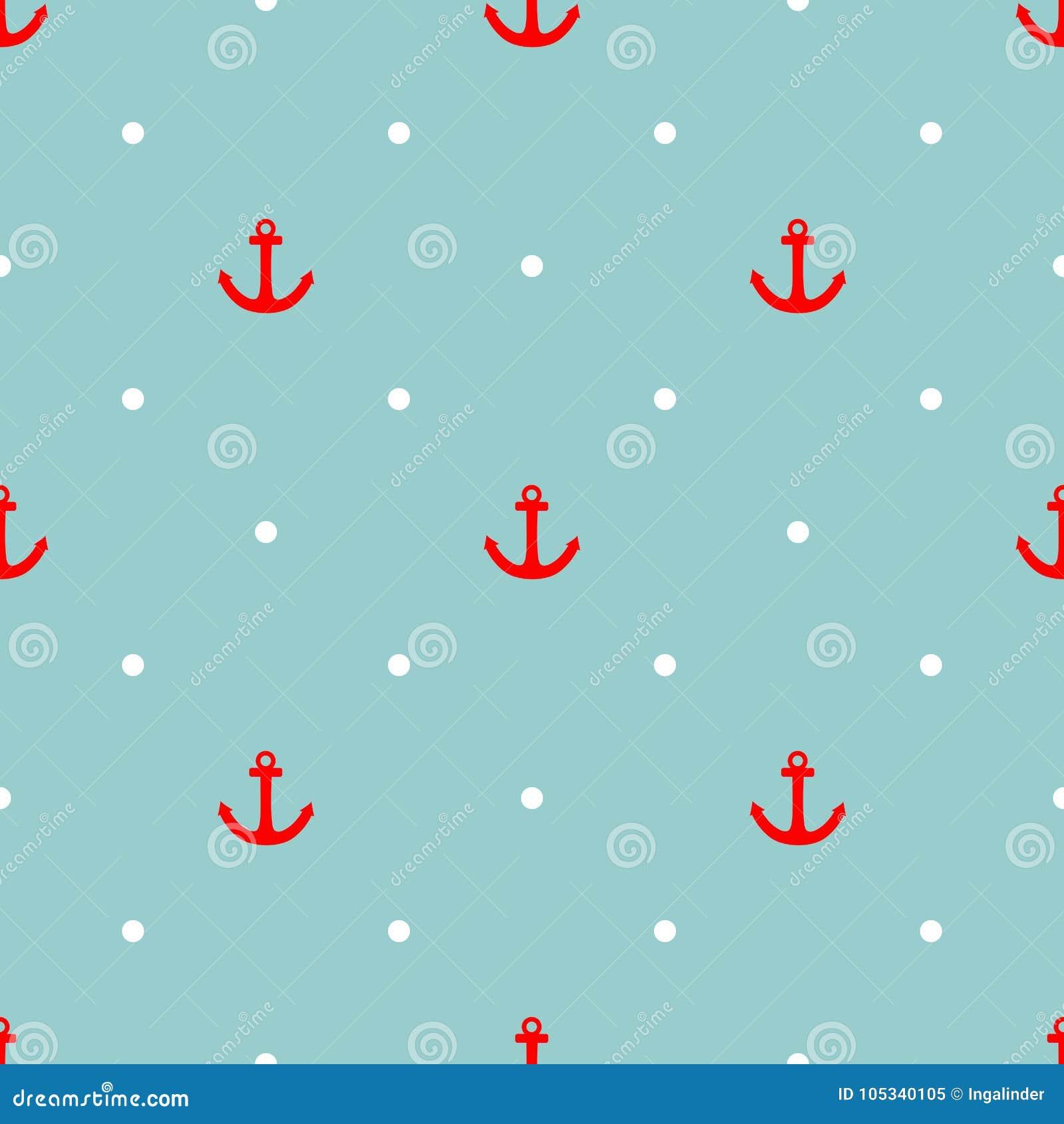 Dachówkowy żeglarza wektoru wzór z czerwieni kotwicowymi i białymi polek kropkami