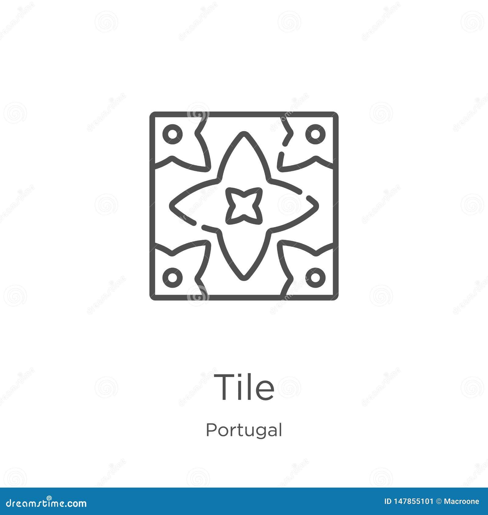 Dachówkowy ikona wektor od Portugal kolekcji Cienka linii płytki konturu ikony wektoru ilustracja Kontur, cienka linii płytki iko