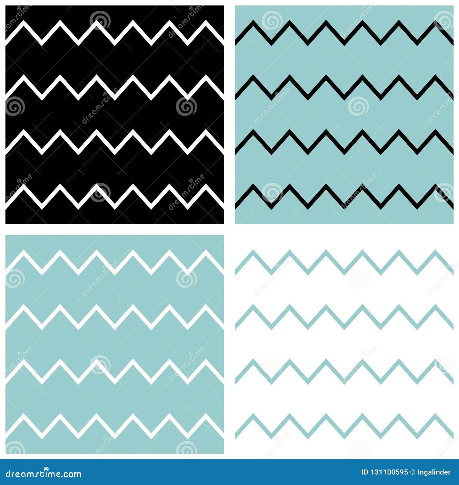 Dachówkowy szewronu wektoru wzór ustawia z żeglarza błękitem, czarny i biały zygzakowaty tło