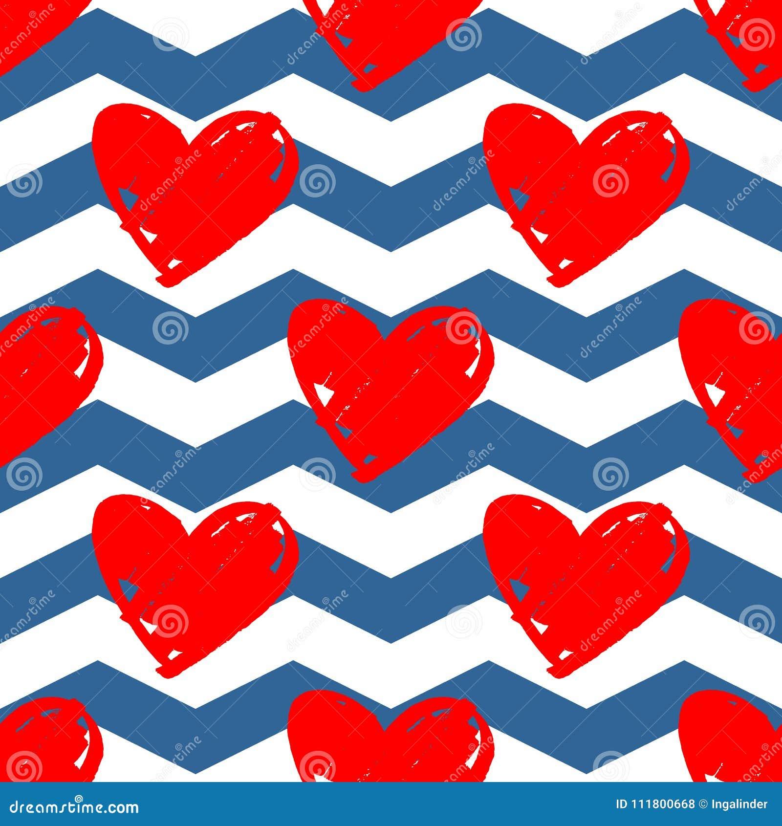Dachówkowy wektoru wzór z czerwonymi sercami na błękitnym i białym szewronu tle