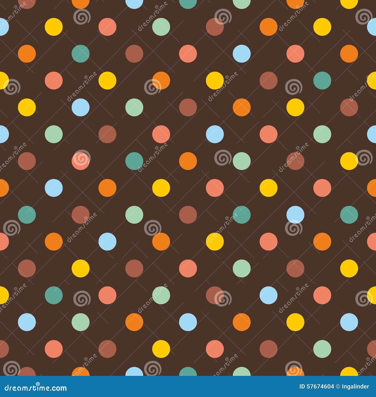 Dachówkowy wektoru wzór z kolorowymi polek kropkami na ciemnego brązu tle
