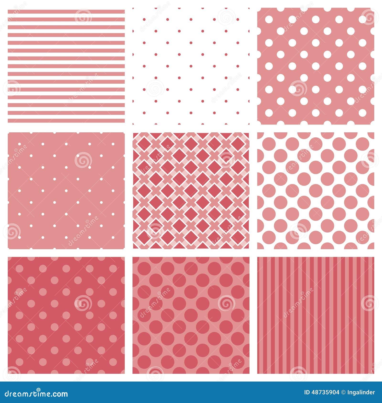 Dachówkowy wzoru set z szkocką kratą, lampasami i polek kropek tłem różowymi i białymi,
