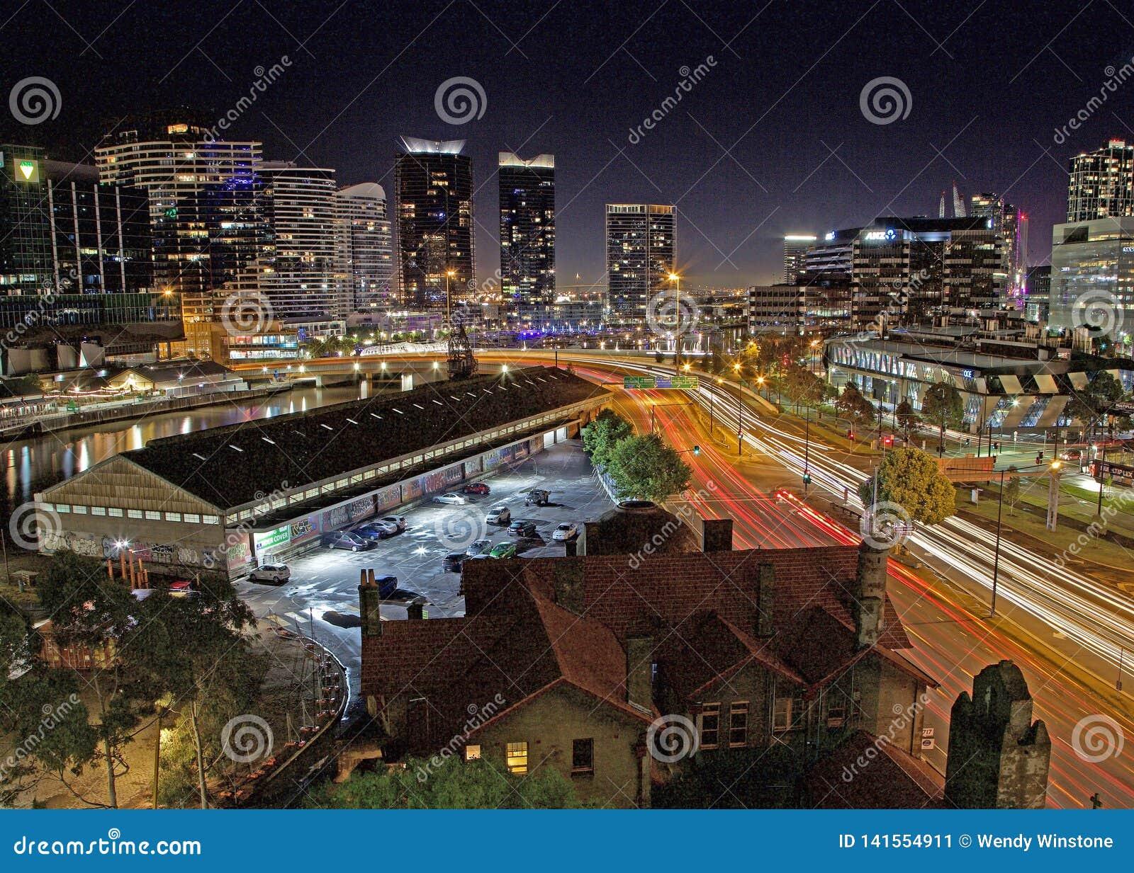 Dach nocy światła w Melbourne