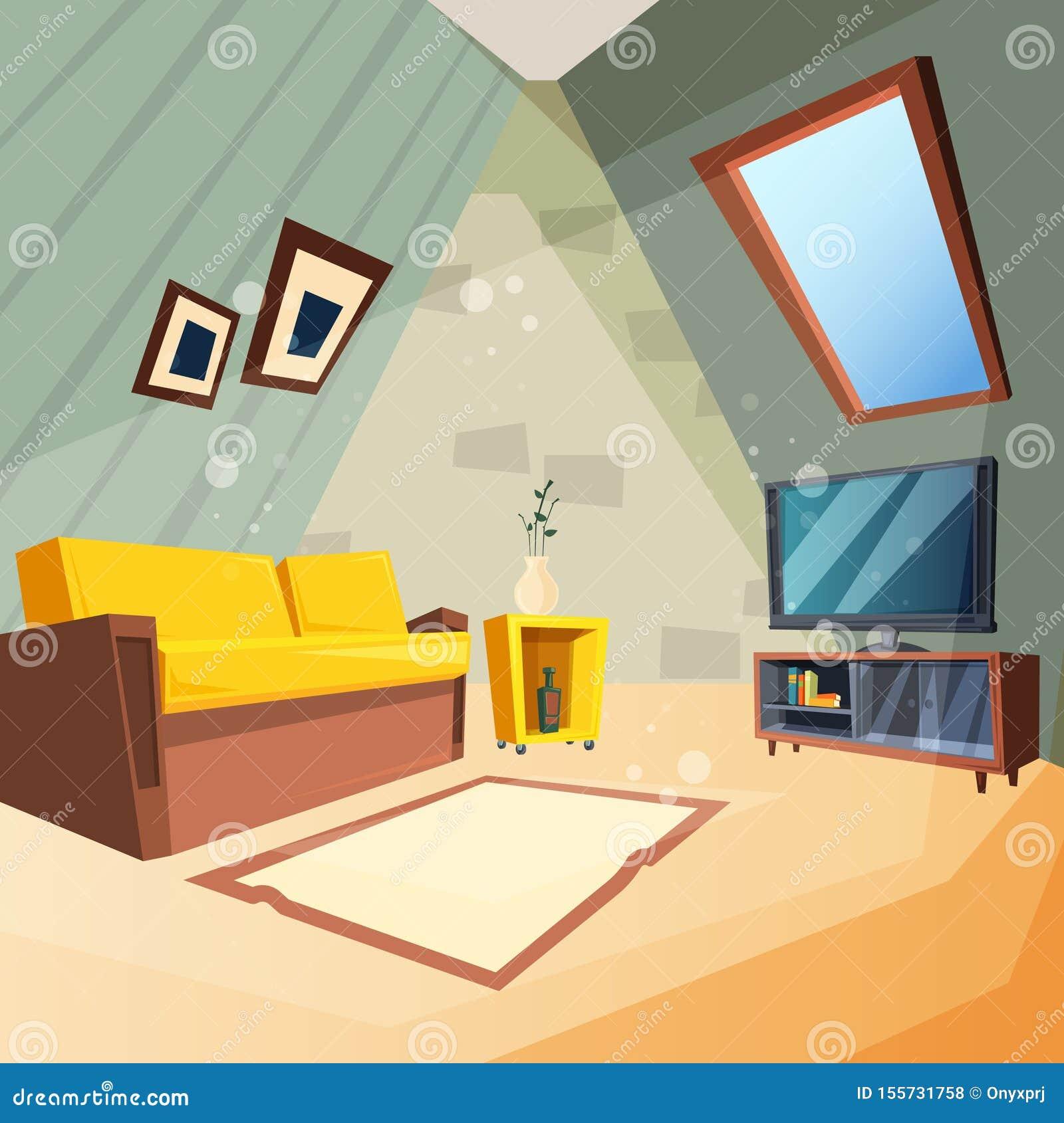Dachboden Schlafzimmer für Kinderinnenraum der Dachbodenraumecke mit Fenster auf Deckenvektorbild in der Karikaturart