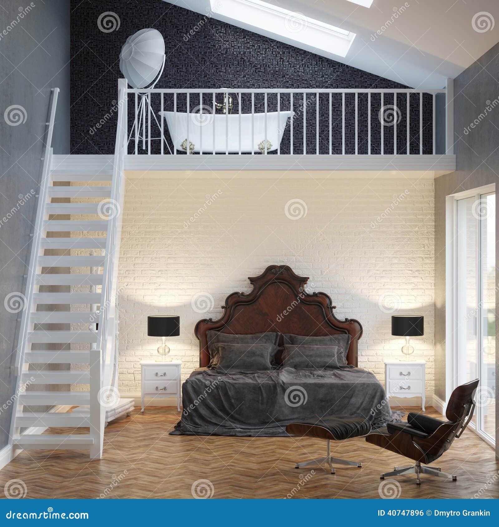 dachboden-schlafzimmer-weinlese-innenraum mit backsteinmauer und, Schlafzimmer entwurf