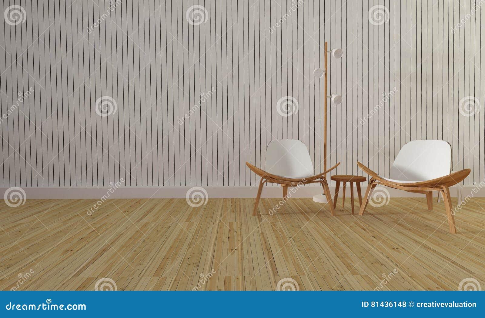 Dachboden Und Einfaches Wohnzimmer Mit Stuhl Und Wand Background-3d ...