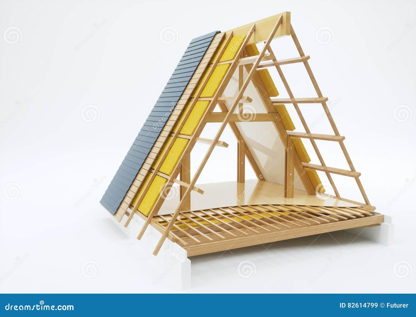 Dachkonstruktion Mit Technischen Details Wiedergabe 3d Stockbild