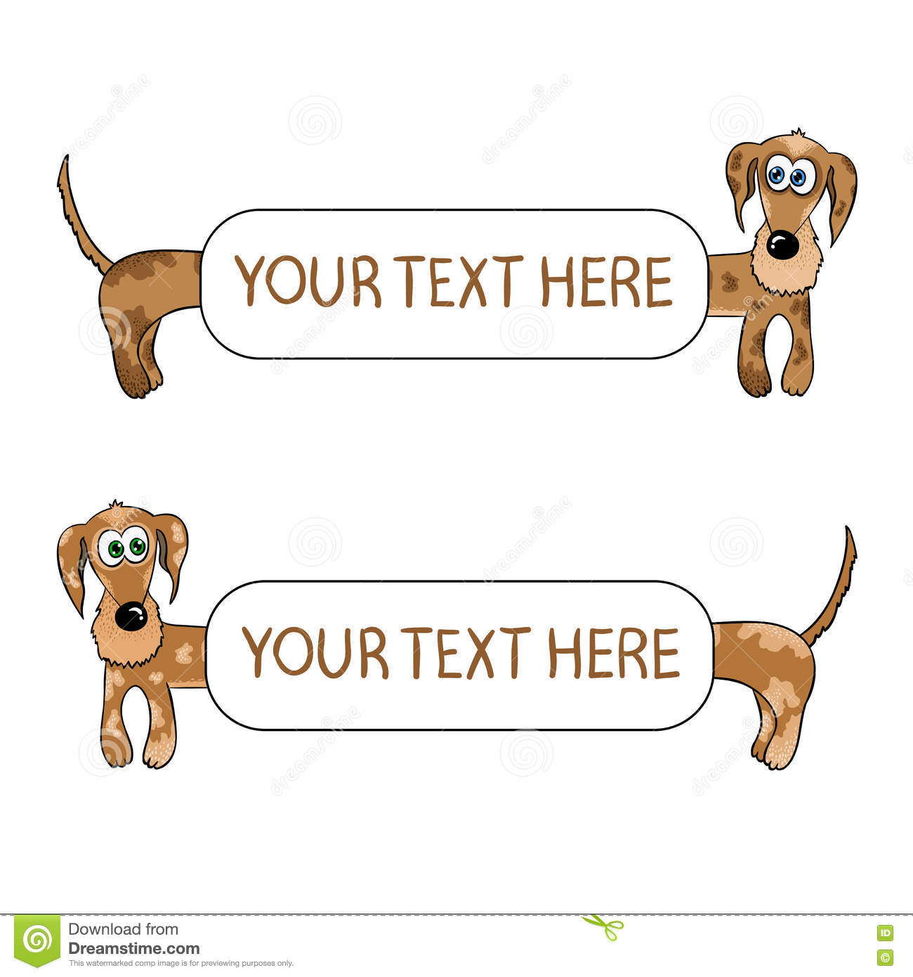 Dachshund Background Set. Funny Dogs Frames, Isolated Vector ...