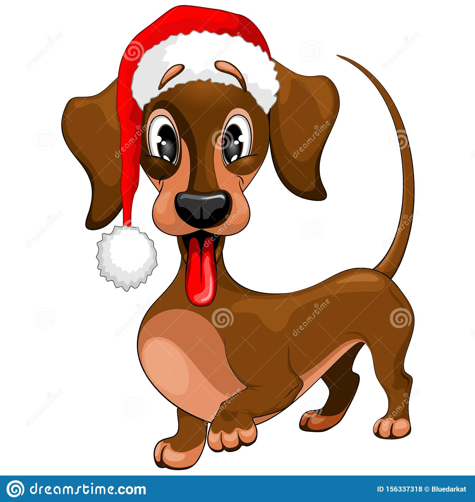 Dachshund Christmas Santa Cute Cartoon Character Vector Illustration Stock Vector Illustration Of Friend Christmasholidays 156337318