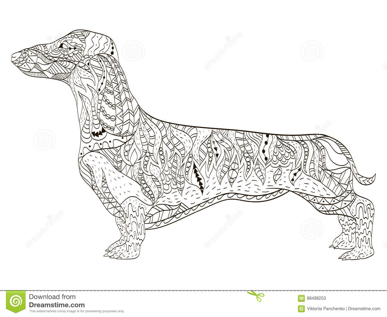 dachshund coloring book for adults vector stock vector image