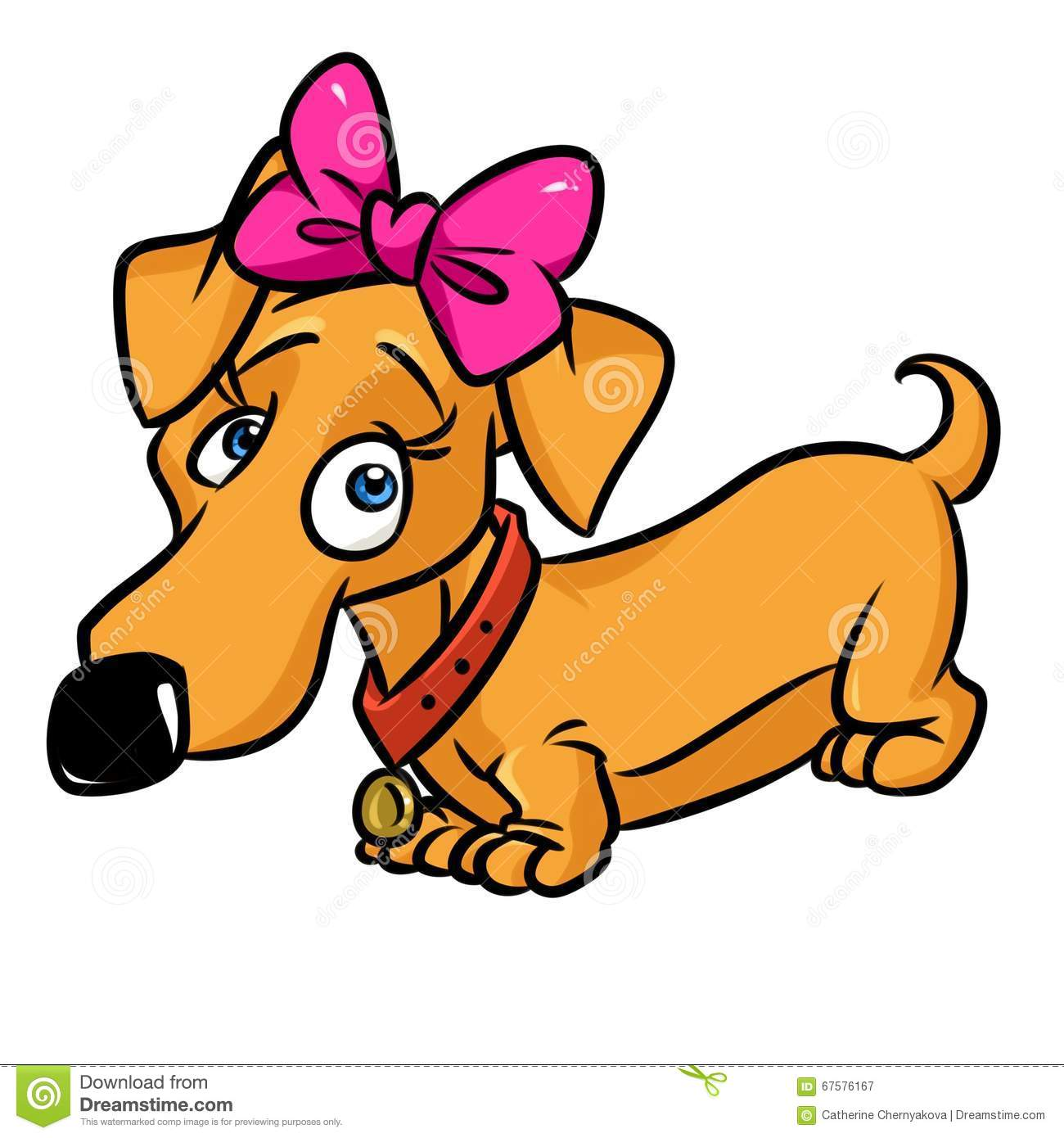 Dachshund Cute Girl Cartoon Illustration Stock Illustration - Image ...