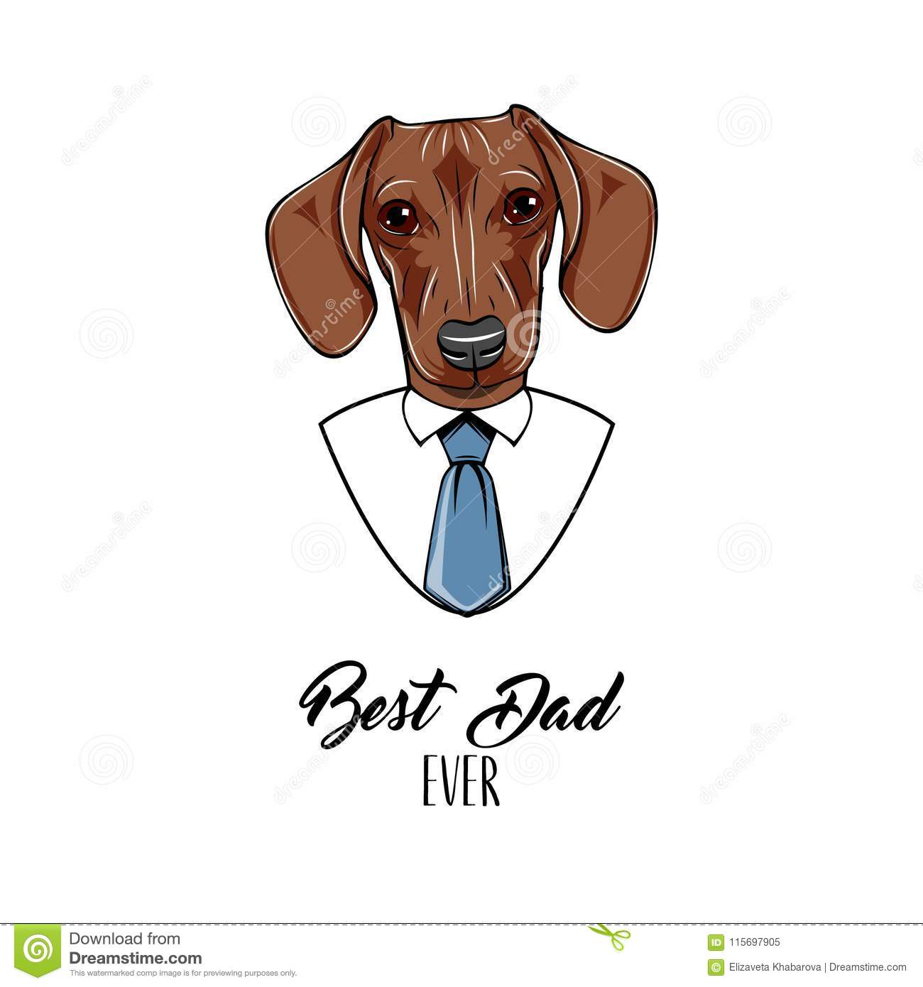 e2b3d7442 Dachshund dog. Fathers day greeting card. Dachshund wearing in shirt,  Necktie. Best dad ever lettering. Dad gift. Vector.