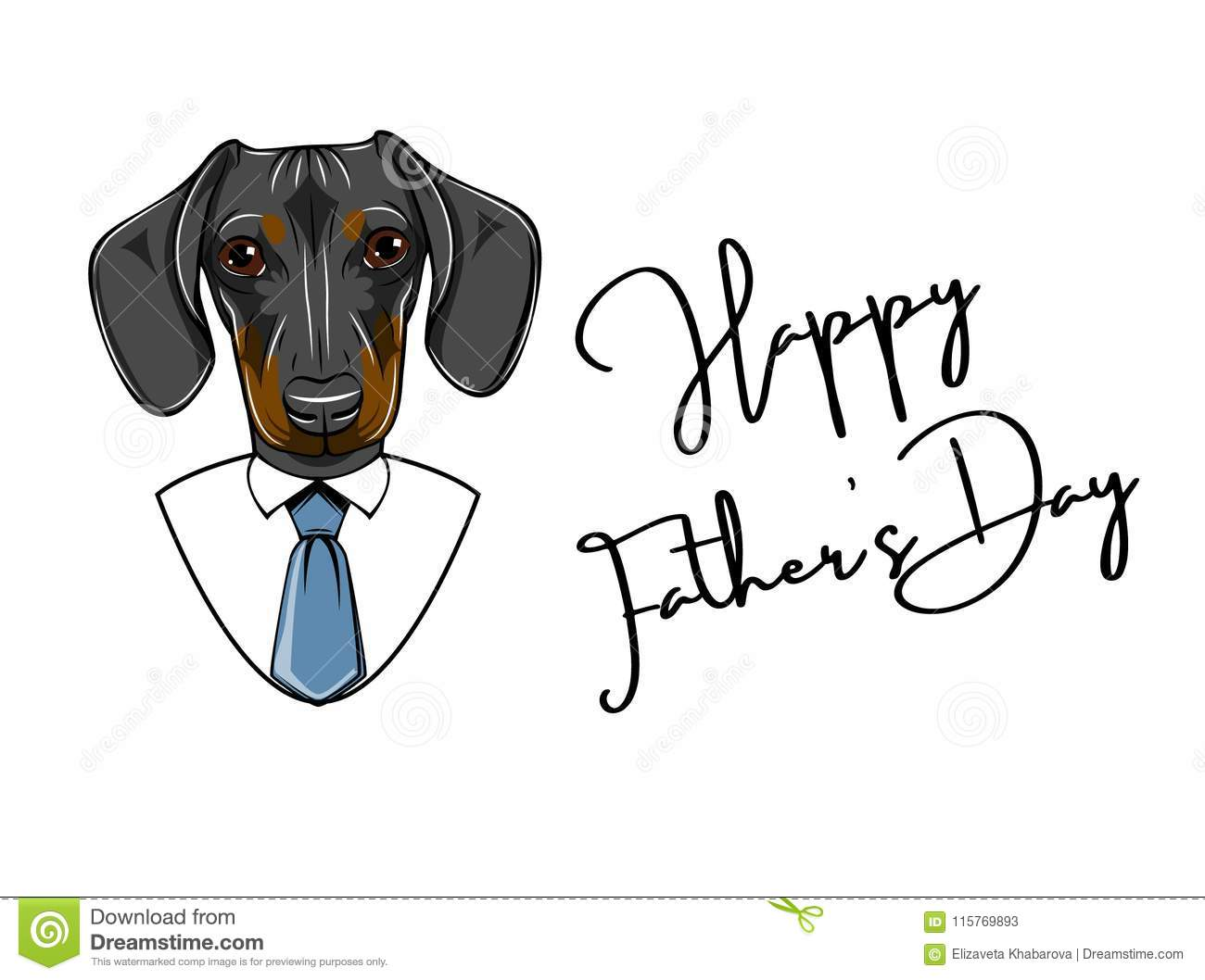 af18ab531 Dachshund dog. Fathers day greeting card. Shirt, Tie, Necktie. Happy Fathers  day lettering. Vector.