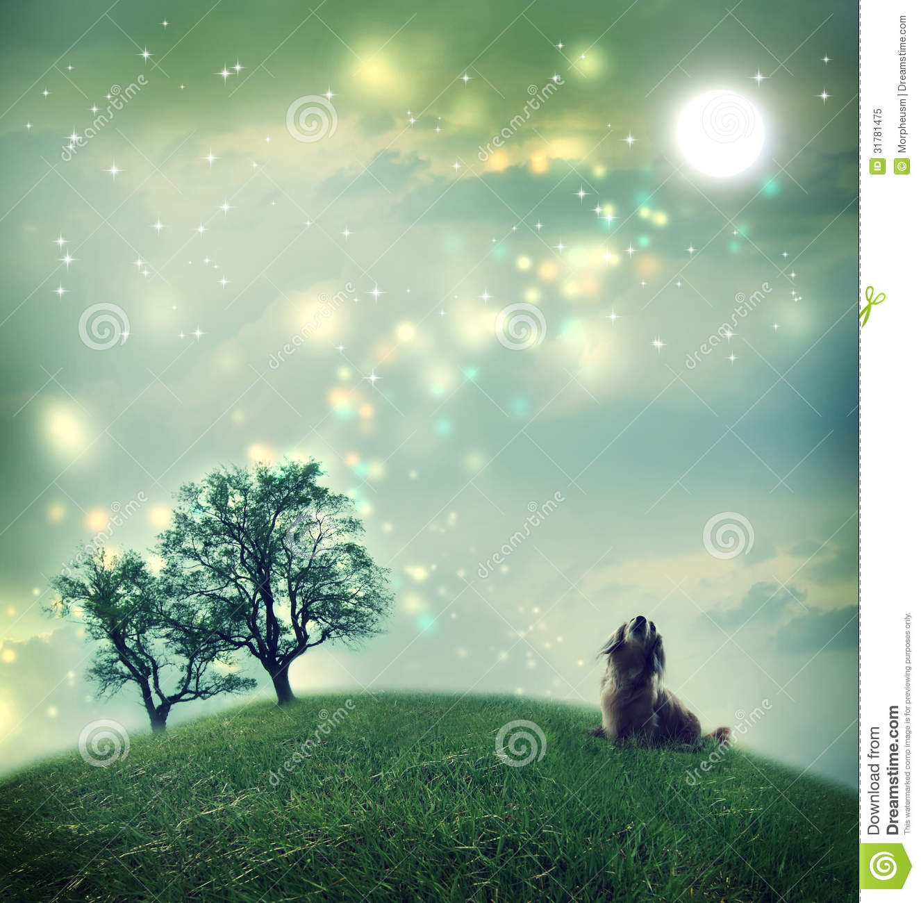 Dachshund Dog In A Magical Landscape Royalty Free Stock
