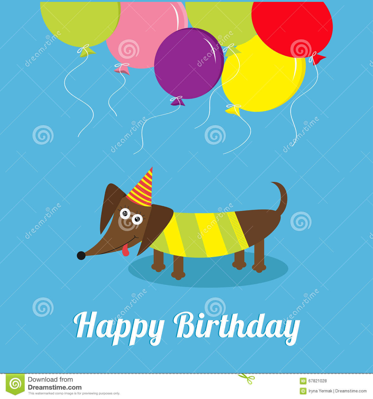 Dachshund Dog With Tongue Striped Shirt Cute Cartoon Character Balloons And Hat Happy Birthday Greeting Card Flat Design Vector Illustration