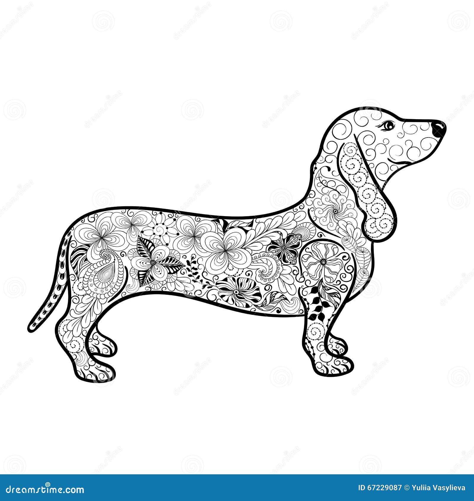Dachshund doodle stock vector. Illustration of animal