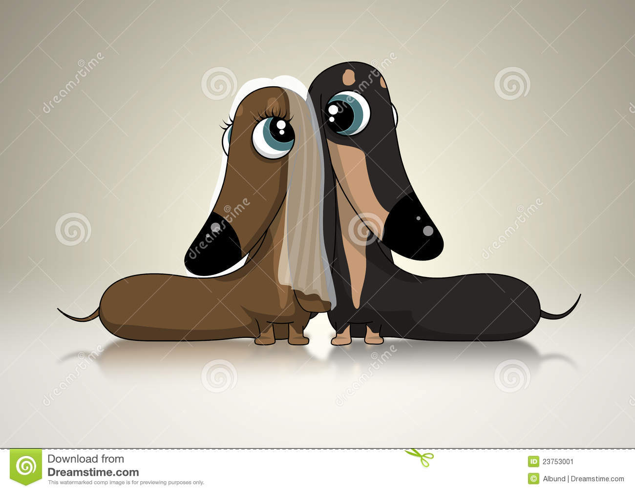Download Dachsund Bridal Couple stock illustration. Illustration of bubble - 23753001
