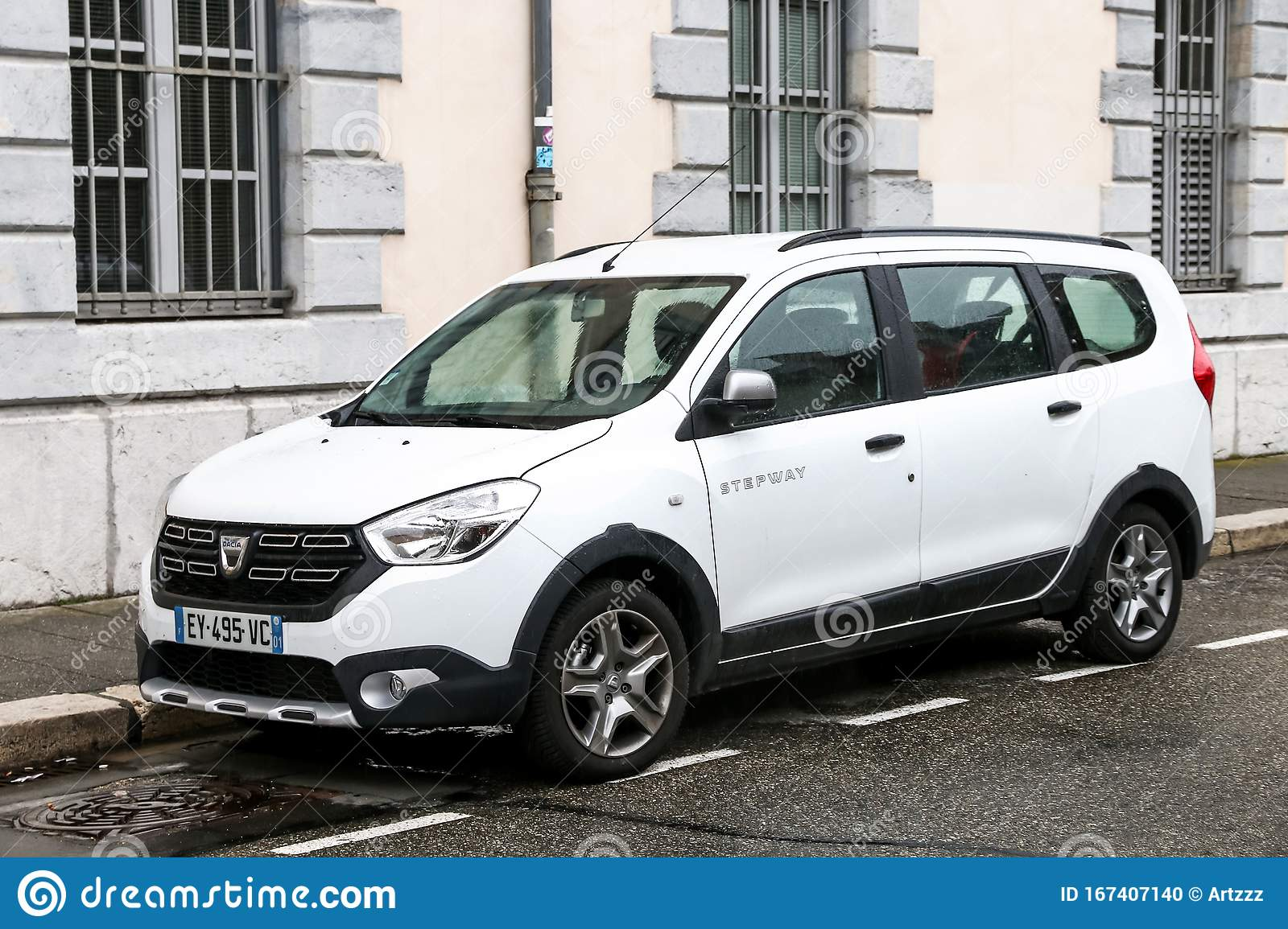 https www dreamstime com dacia lodgy stepway grenoble france march white wd van city street image167407140