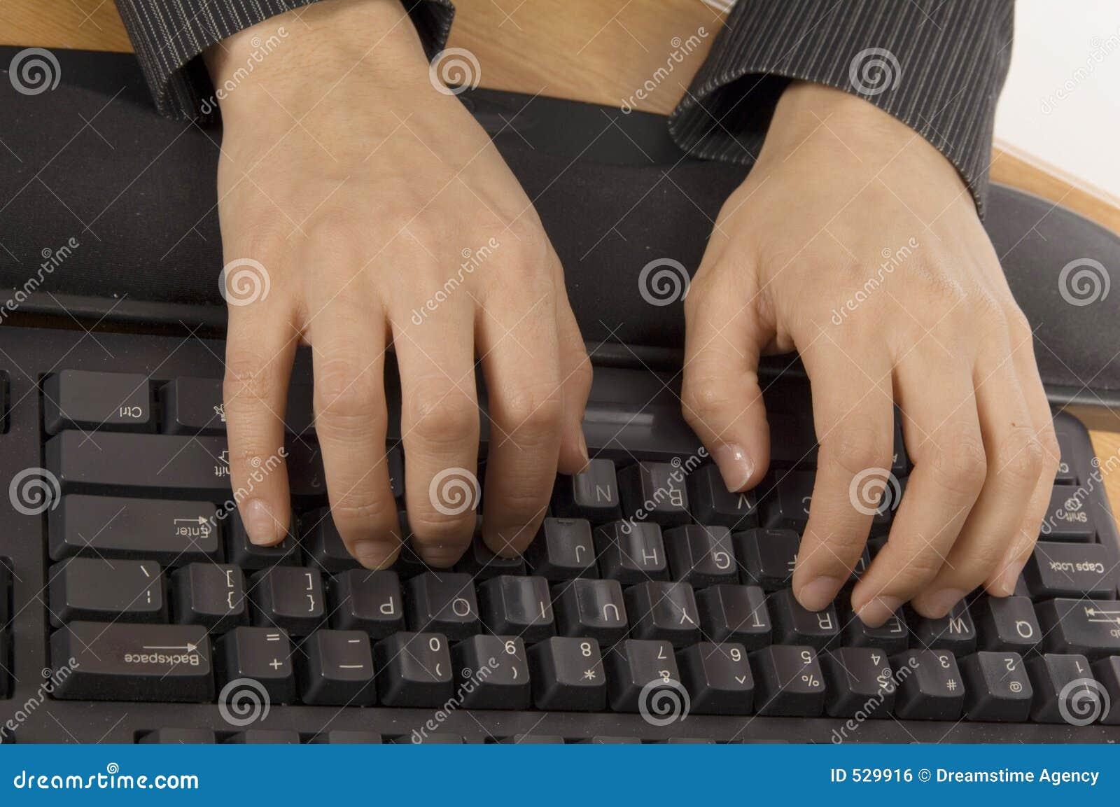 Dactilografia em um teclado