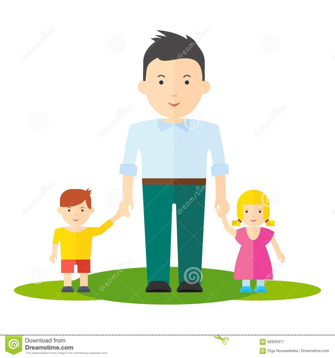Dad and baby girl boy stock vector  Illustration of daddy