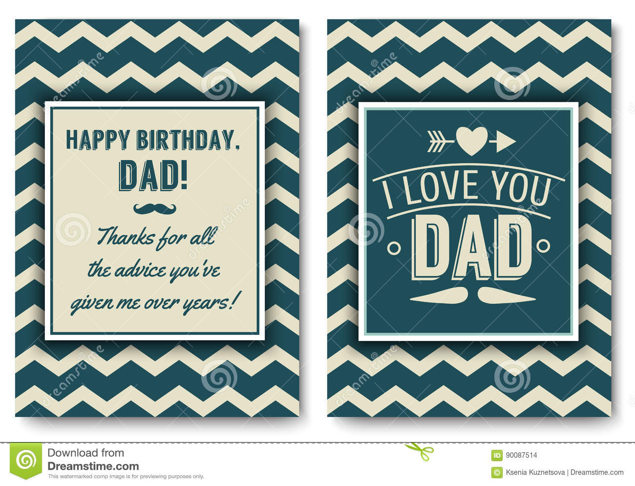 Dad Birthday Card With Words Of Love Stock Vector Illustration Of