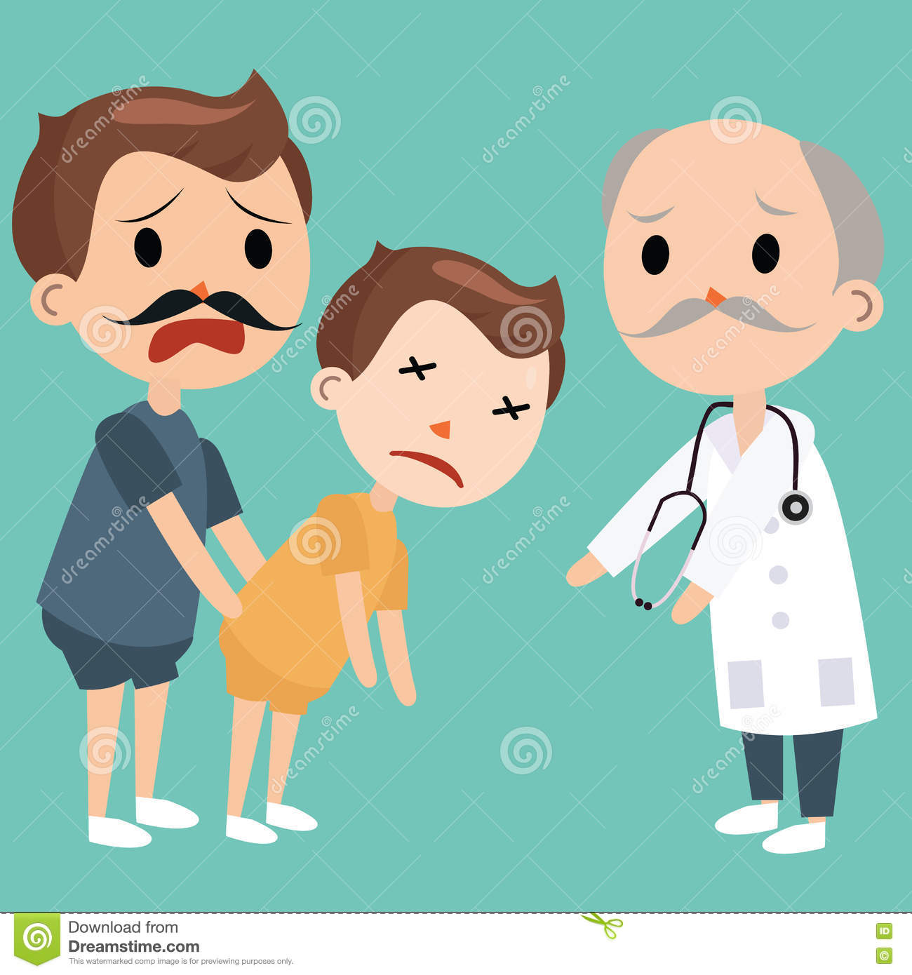 Dad Bring Sick Kids To Doctor Emergency Medical Visits Stock Photo ...