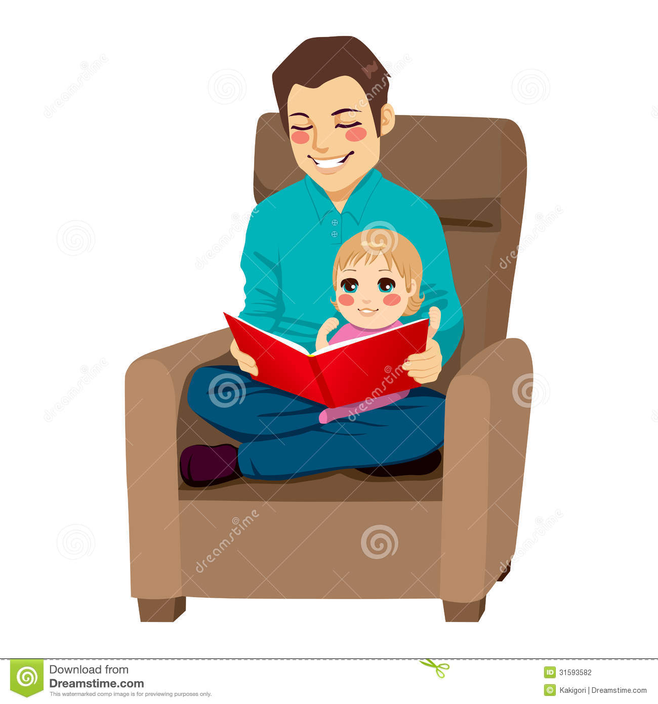 Dad And Daughter Reading Stock Vector Image Of Indoors