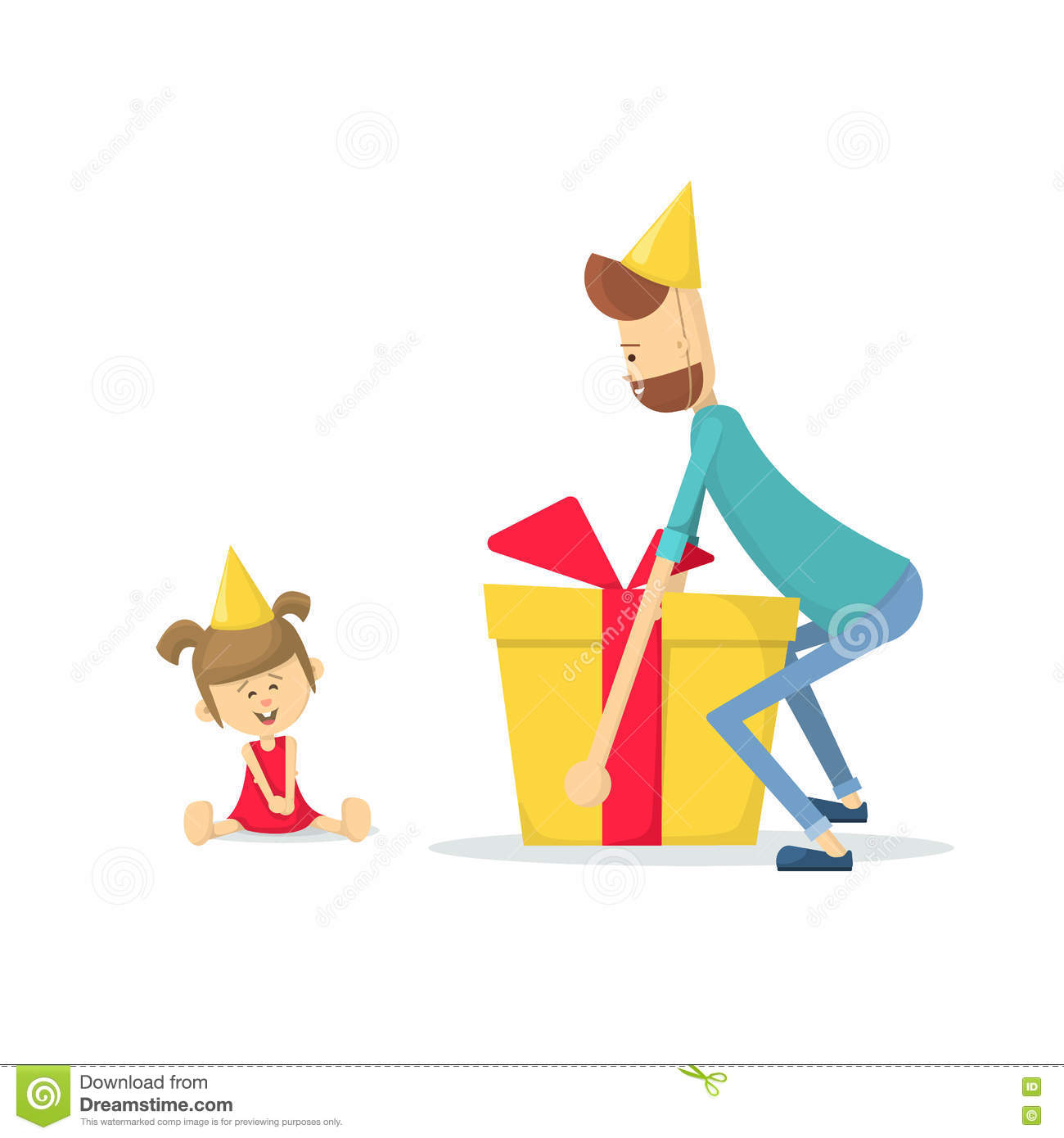 Dad Gives Daughter A Birthday Gift Flat Illustration
