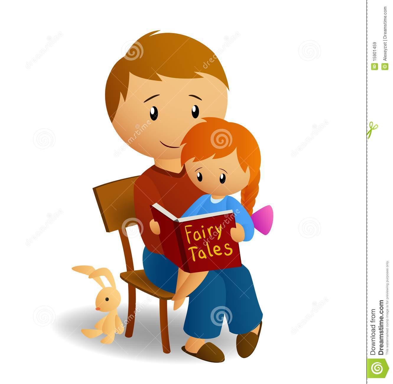 Sister Website Dad And His Daughter Read Tales Stock Vector
