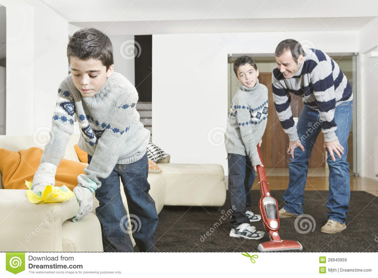 Dad And Kids Cleaning Royalty Free Stock Images Image