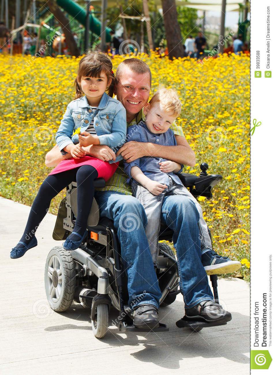 Dad play with son and daughter