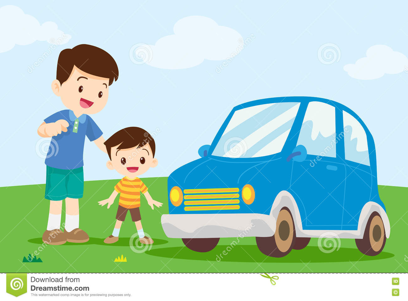 Dad And Son Look At Car Stock Vector Image 72208265