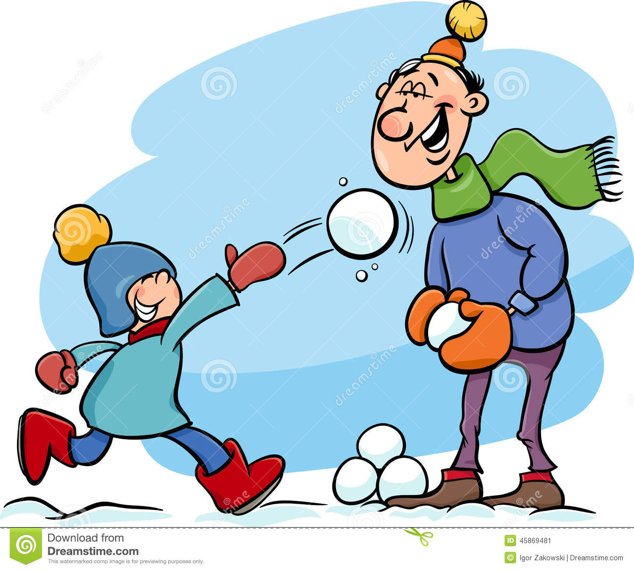 dad and son on winter cartoon stock vector