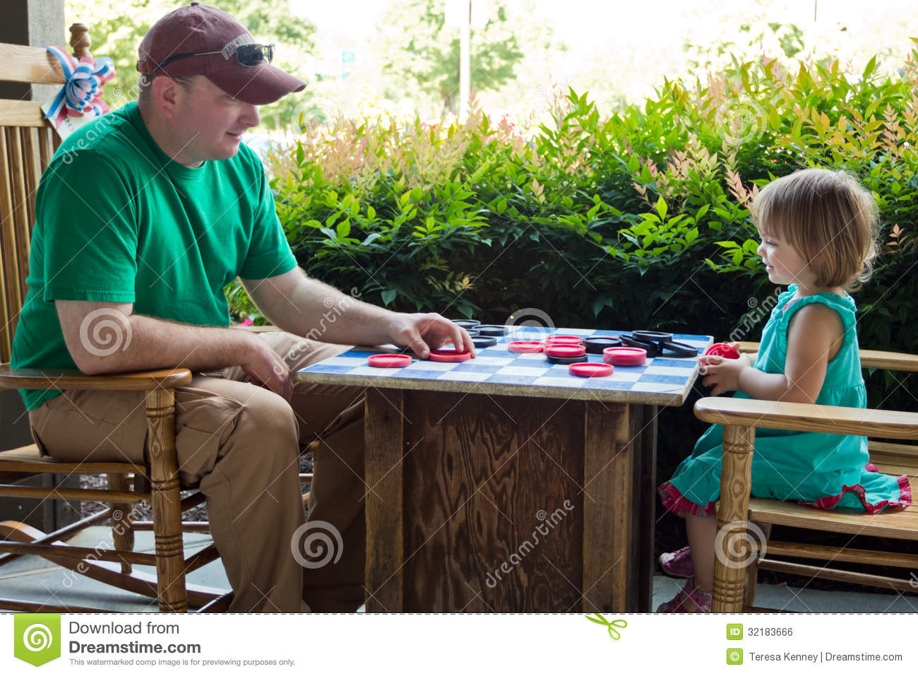 Daddy Daughter Checkers Royalty Free Stock Image Image