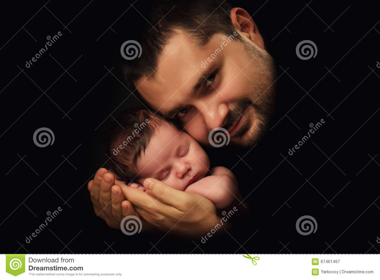 Daddy hugs his newborn baby. Father s love. Close-up portrait on a black background