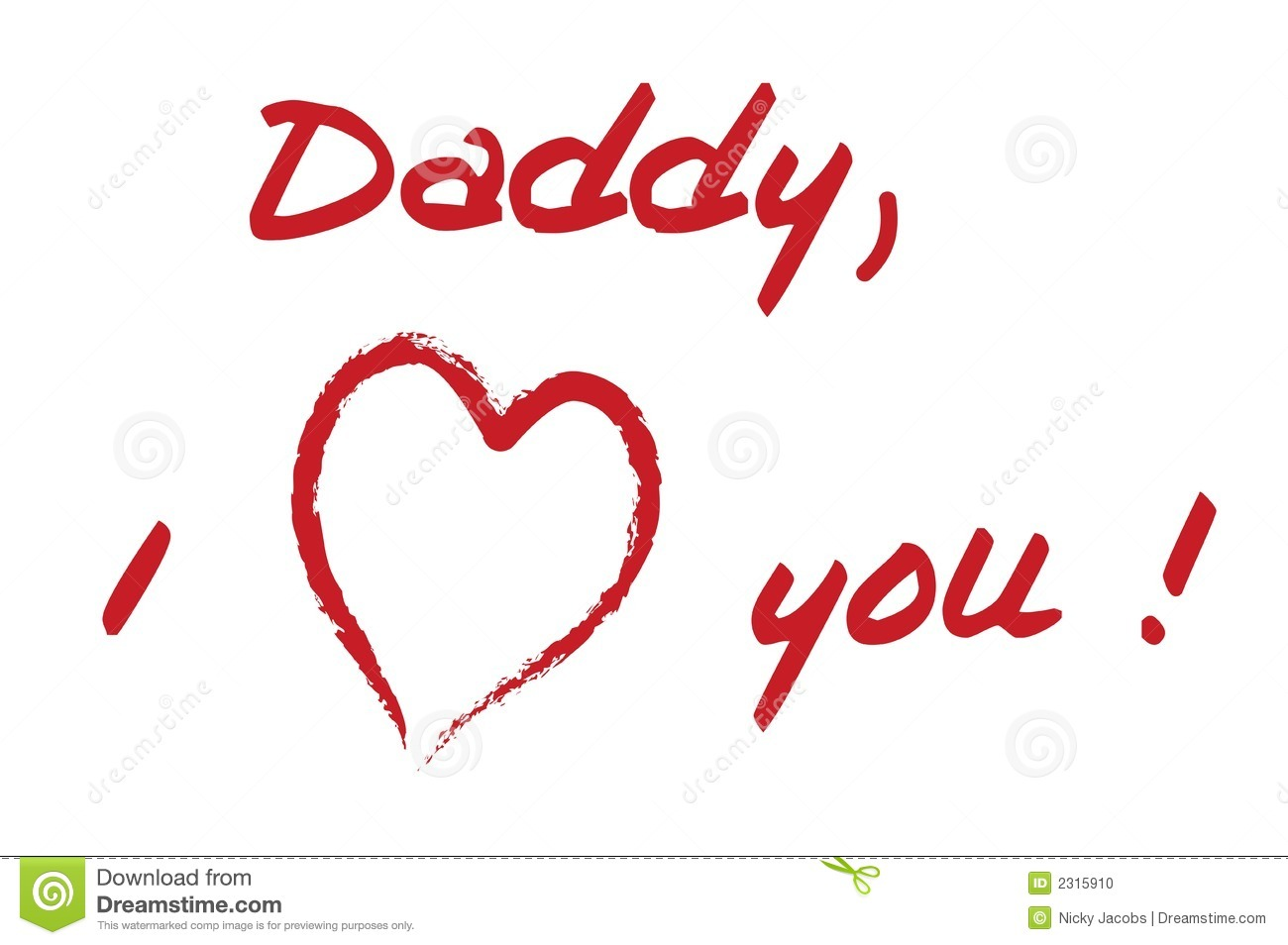 Dad I Love You Stock Vector Illustration Of Writing Text 2315798