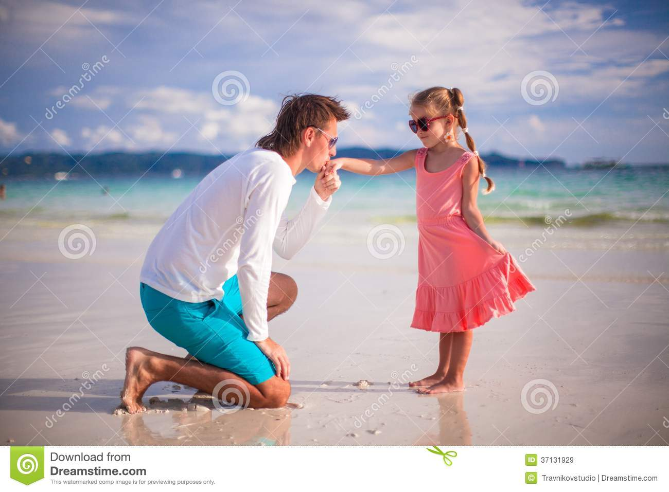Daddy Kissing Hand His Little Daughter Stock Images 10 Photos