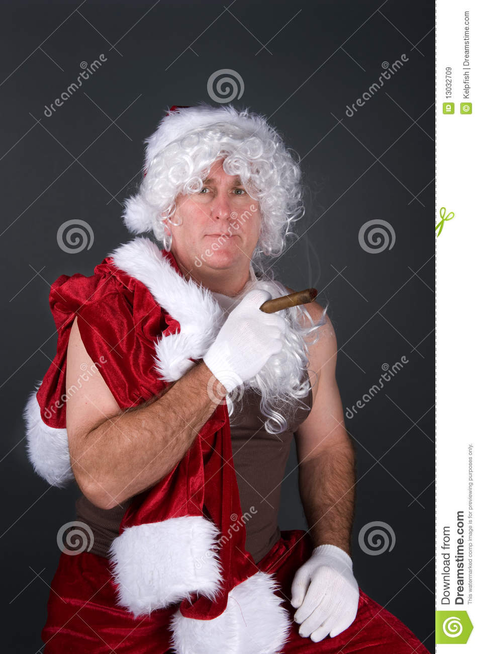 daddy santa claus smoking a cigar royalty free stock