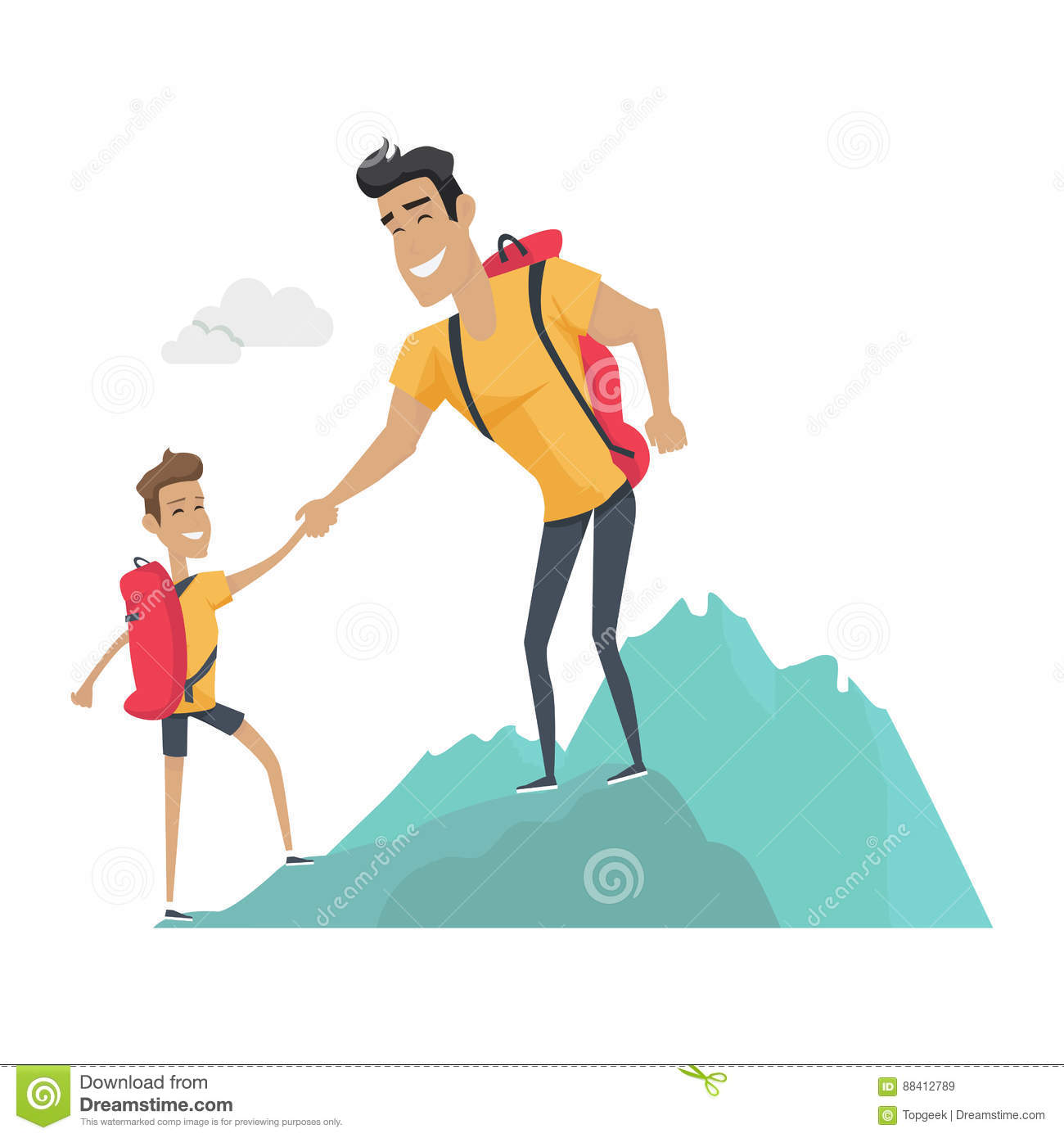 daddy and son go camping  sport activities stock vector