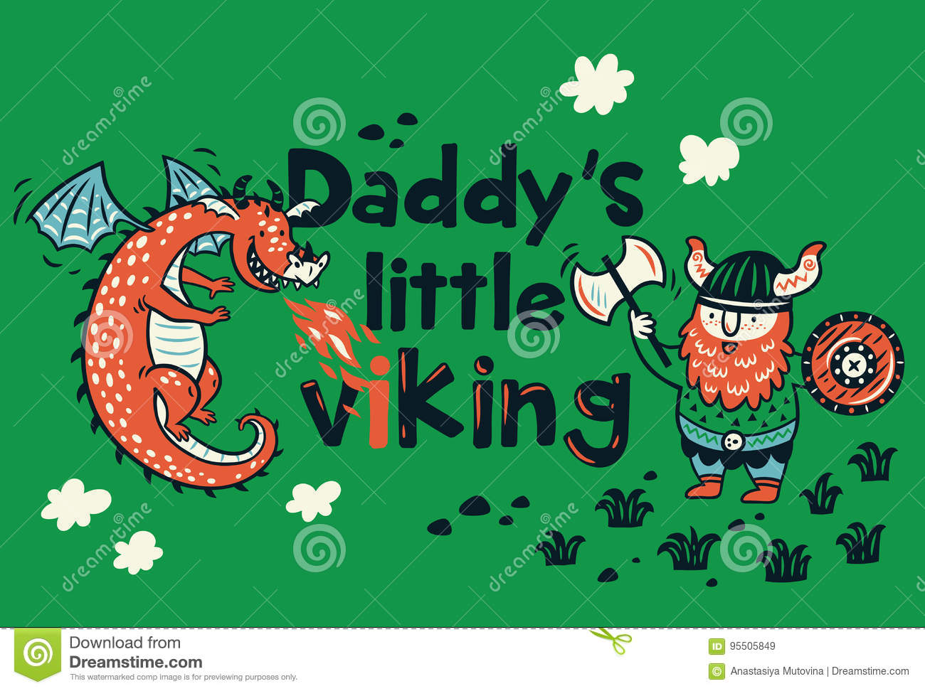 1e56a2a6 Daddys Little Viking Print For Childrens Clothing Stock Vector ...
