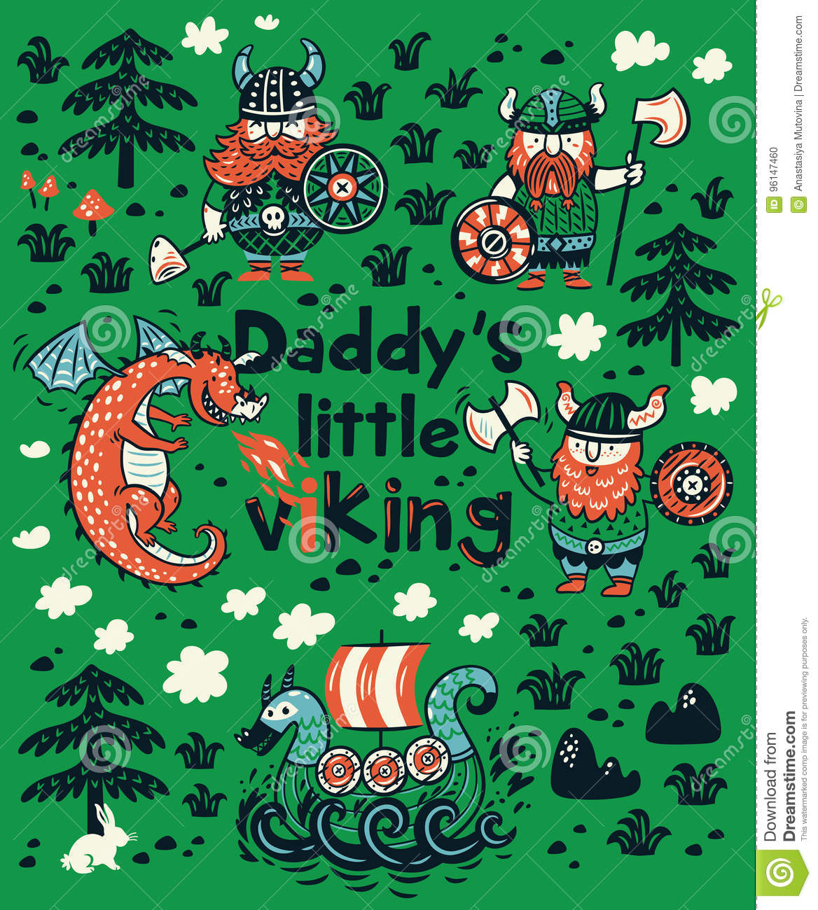 c3711579 Daddys Little Viking Print For Childrens Clothing Stock Vector ...