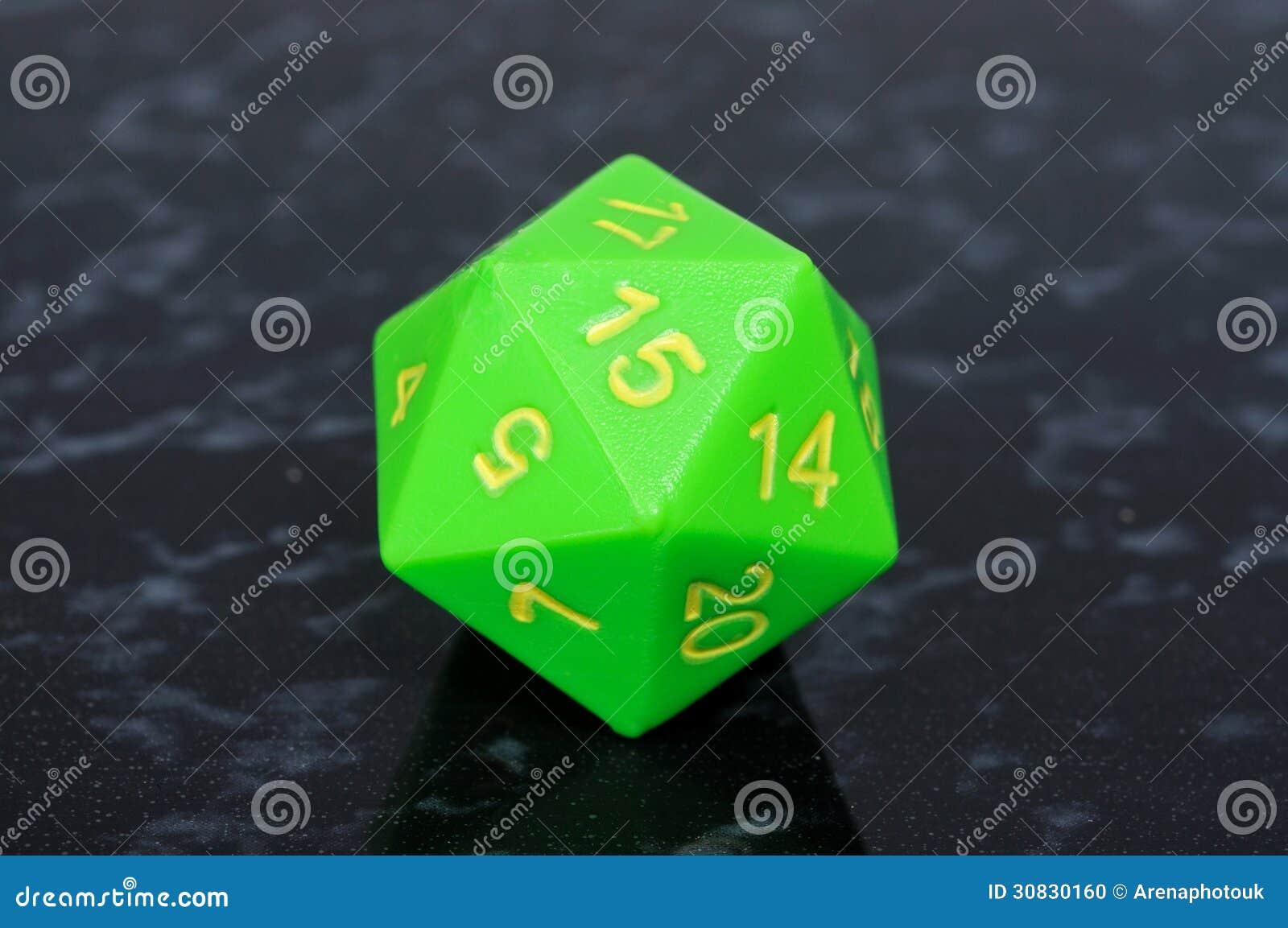 Dadi parteggiati dell icosaedro 20 verdi.