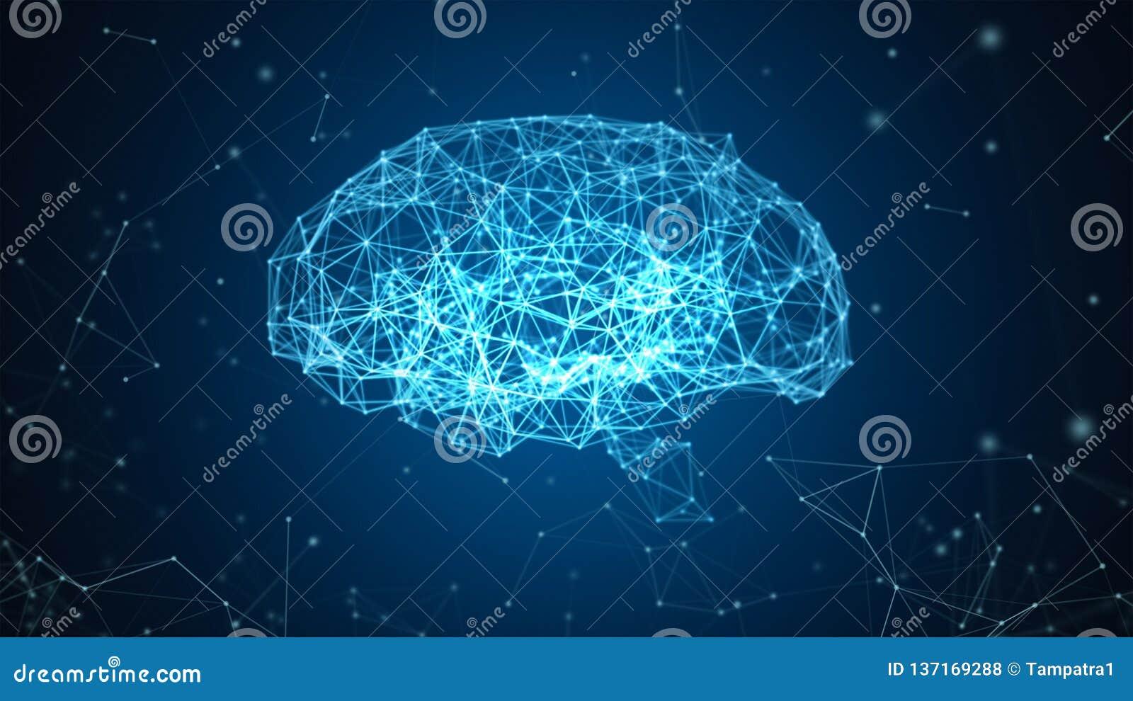 Dados de Digitas e conexão de rede do cérebro humano isolada no fundo preto sob a forma da inteligência artificial para