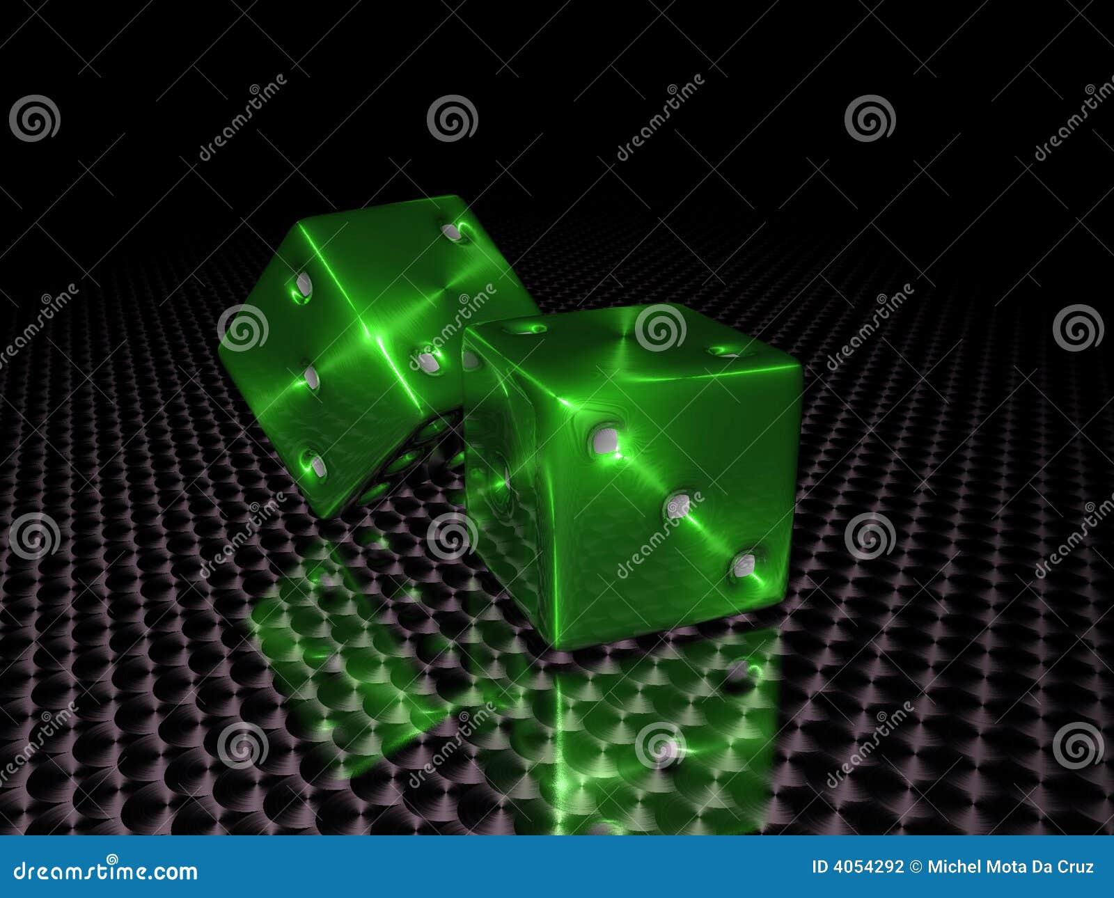 Dados verdes del casino