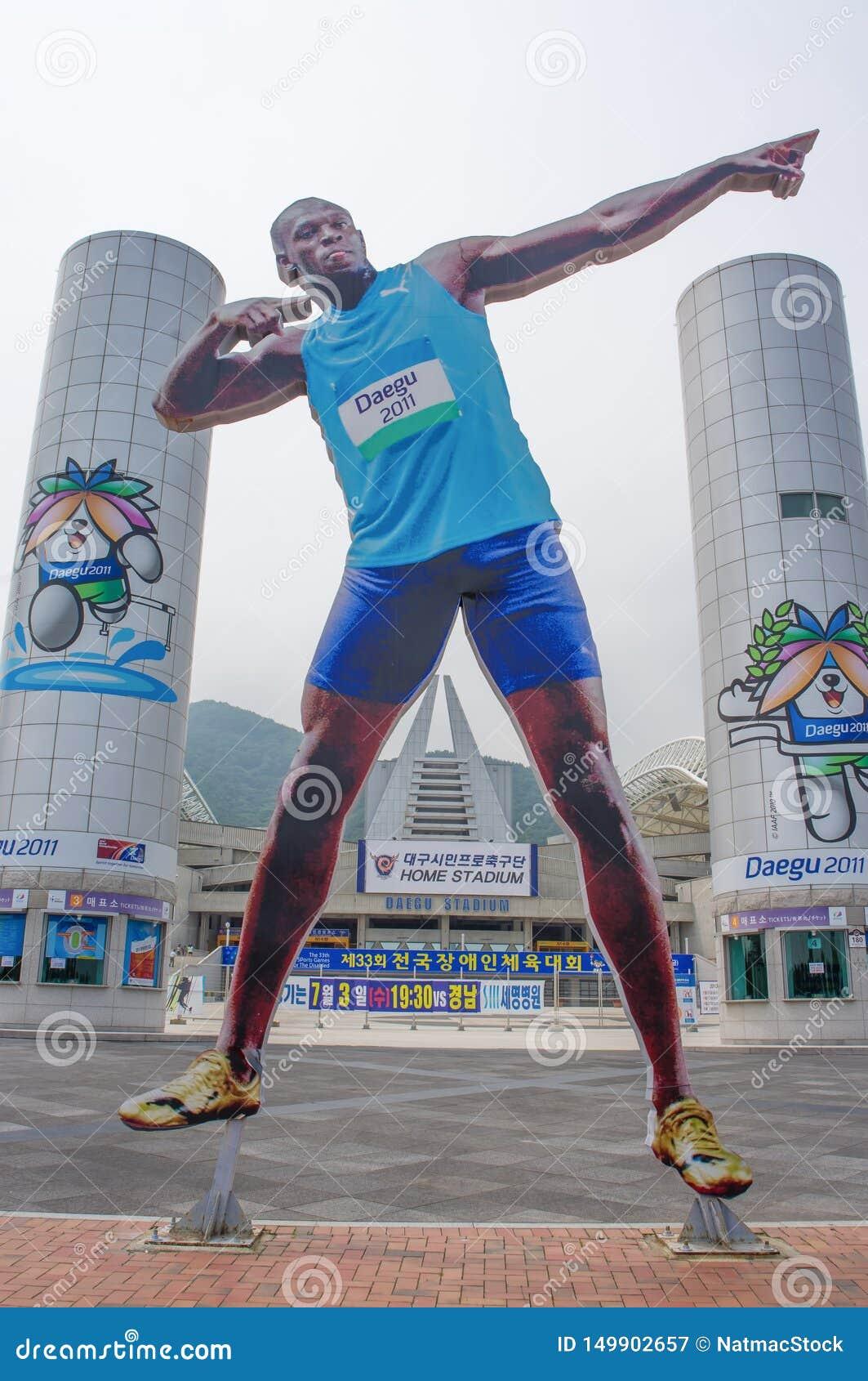 DAEGU/COREA DEL SUR - 26 DE JUNIO DE 2013: Estadio de Daegu - recibió los campeonatos del mundial y del mundo de la FIFA en atlet